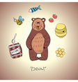 Cartoon bear and his food vector