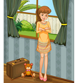 A young girl going on a journey vector