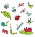 Set of funny cartoon insects isolated vector