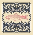 Old baroque card floral and fish details vector