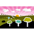 Rural paper nature background with trees clouds vector