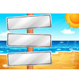 Empty signboards at the beach vector