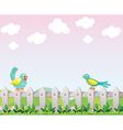 Two birds above the fence vector