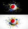 Japan flag with soccer ball dash on colorful vector