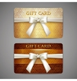 Set of golden gift cards with white bows vector