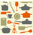 Kitchen utensils silhouettes vector