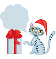 Tabby cat wishes merry christmas vector