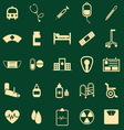 Hospital color icons on green background vector