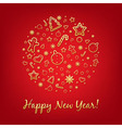 Red happy new year card with icons vector