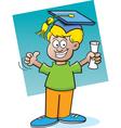 Cartoon boy holding a diploma vector