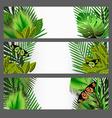 Tropical green leaves set vector
