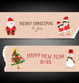 Christmas banner retro with santa claus tree vector