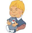 The boy and toy bear cub cartoon vector