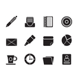 Silhouette office and business icons vector