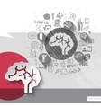 Paper and hand drawn brain emblem with icons vector