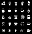 Coffee icons on black background vector
