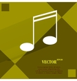 Music elements notes web icon on a flat geometric vector