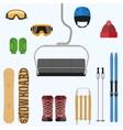 Set of flat design elements on winter sport theme vector