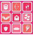 Set of 9 icons of valentines day symbol vector