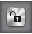Unlock icon - metal app button vector