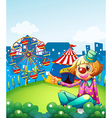 A female clown pointing the carnival vector