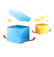Open goft boxes blue and yellow vector