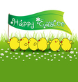 Cute baby chicken with happy easter flag on green vector