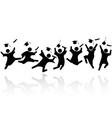 Cheerful graduated students jumping vector