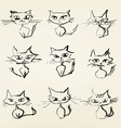 Hand drawn grumpy cats icons vector