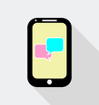 Flat design mobile phone with speech bubble icon vector