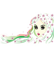 Floral girl with white hair vector