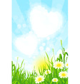 Green grass with clouds vector