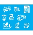 Blue and white milk symbols icons or logos vector