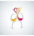 Red and white wine love concept background vector