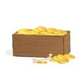 Wooden treasure chest vector