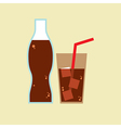 Glass and bottle of cola vector
