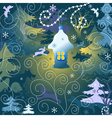 Christmas background with a toy house forest and w vector