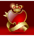 Badge with ribbon and crown vector