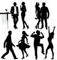 Several people are dancing on the party silhouette vector