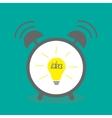 Alarm clock with yellow idea light bulb icon flat vector