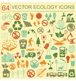 Environment ecology icon set environmental risks vector