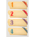 Set of retro cardboard paper banners with color vector