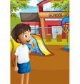 A happy student at the schools playground vector