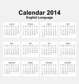Calendar 2014 english type 11 vector