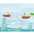 Fishermen and fishing boat vector