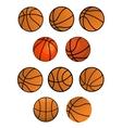 Set of orange rubber basketball balls vector