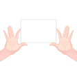Human hands holding blank paper horizontal vector