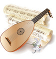 Late baroque era lute with notes in retro style vector