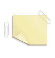 Yellow sticker with paper clips vector