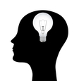 Silhouette of a man with a head lamp vector